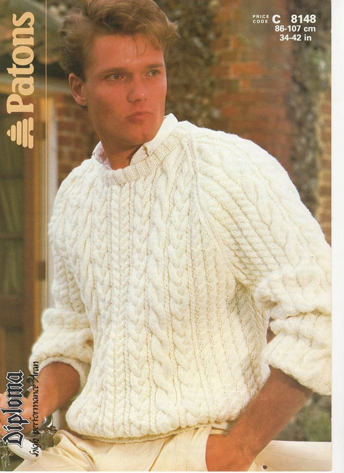 Knitting Pattern Aran Jumper : Mens Aran Jumper Mens Aran Sweater Mens Knitting Pattern