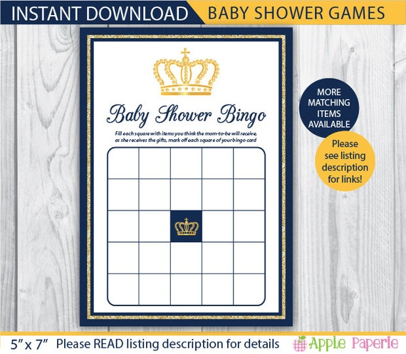 Royal Baby Shower Games / Baby Shower Bingo Game / Baby Shower