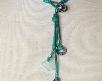Soft Teal Leather Necklace, Sea Glass Necklace | Singing the Blues