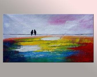 Oil Painting, Love Birds Painting, Canvas Painting, Original Painting, Abstract Painting, Abstract Art, Wedding Gift, Art Painting C