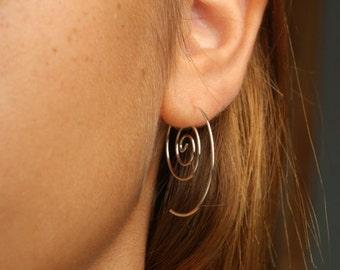 EARRINGS / Spiral pair Earrings  Sterling Silver or Gold filled 20g
