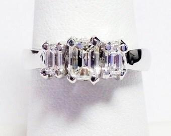 1.00CT Diamond 3 Stone Emerald Cut Engagement Ring Anniversary Band Wedding Bands Rings Diamonds Platinum 18K 14K White Yellow Rose Gold