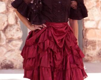 Small Victorian Satin Quadruple Short Bustle Skirt - Ready to Ship