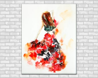 Watercolor Print, Flamenco Dancer Watercolor Painting Art Print