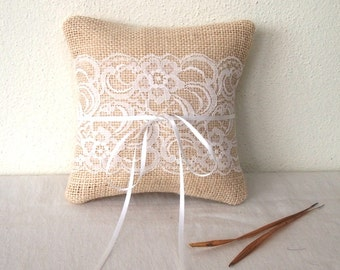 "Ivory /cream 6x6"" Personalized Burlap Wedding Ring Bearer Pillow/ Lace Ring Pillow/ Ring Bearer"