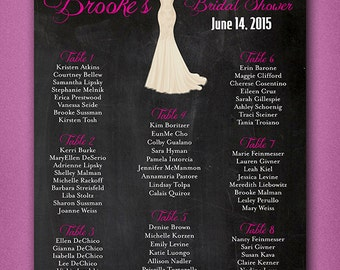 """8.5""""x11"""" Small PRINTABLE Wedding Shower Seating Chart • Chalkboard •  hot pink script & easy read • Ivory Trumpet Dress • Seating Chart"""