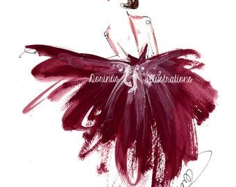 Princess painting, Fashion illustration, Princess art,  Fashion art, Fashion wall art, Fashion sketch, Princess drawing, Burgundy wall art