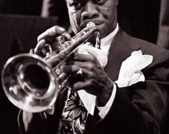 Louis Armstrong Poster, Satchmo, Playing the Trumpet, Iconic Musician, Jazz, Swing