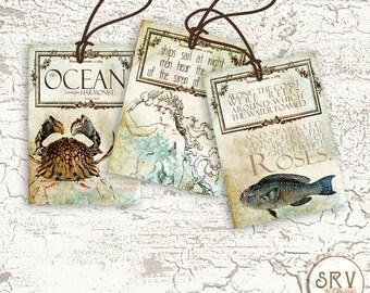 8 Nautical Gift Tags, Sea Creatures 2.5 x 3.5 Hang Tags, Mermaid Thank You Tags, Product Tag, Fish Greetings, Choose Ribbon Color
