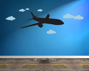 Airplane Wall Decal Airline Pilot Wall Decal Pilot Wall Decal Jet Wall Decal Jet Decal Airliner Decal Airliner Wall Decal Airplane Clouds