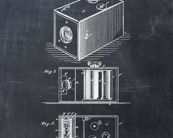 Roll Film Camera Patent Art Print From 1888