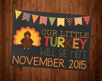 SALE 50% OFF Custom Turkey Chalkboard Pregnancy Announcement