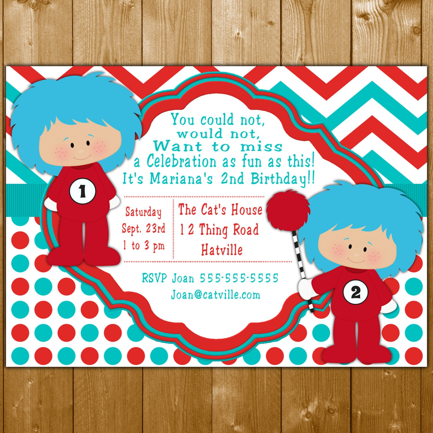 Thing 1 And 2 Invitation Dr Suess Party Invitations Invite For A Girl Or Boy