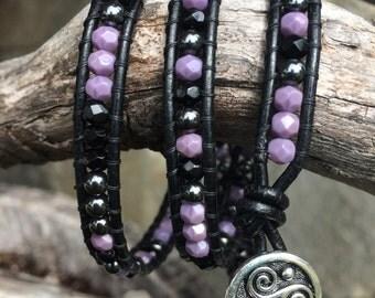 Beaded Leather Wrap Bracelet. Black, Purple and Hematite.