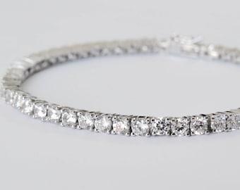 Sterling silver Crystal tennis bracelet, Swiss zirconia bracelet, bridal tennis bracelet cubic zirconia bracelet sterling silver cz bracelet