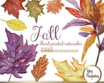 Autumn Tree Leaves Leaf clip art images watercolor hand painted PNG transparent background and JPG for blog cards invitations