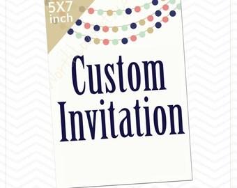 Custom Invitation, Garland Theme, Celebrate, Paper Garland Theme Invitation
