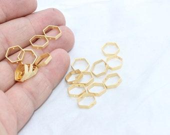 10 Pcs 24k Matt Gold Connectors, Geometric Beads, 10x10mm , Gold Plated Over Brass, Connector, Hexagon Charms , BRT149