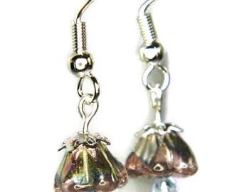 Belle Earrings in Pink and Very Pale Blue. Glass Earrings. Bell Flower Earrings. Pink and Blue Flower Earrings.