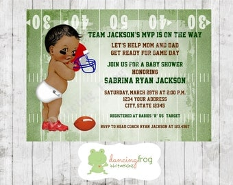 Football Sports African American Baby Shower Invitations - Printed Football Baby Shower Invitation by Dancing Frog Invitations