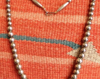 Vintage Navajo Graduated Silver Bead Necklace