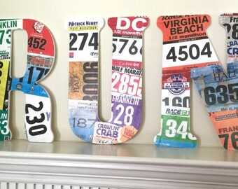 RUN Race Bib Wood Letters - Personalized - Cover wood letters with YOUR race bibs -  Wall decoration