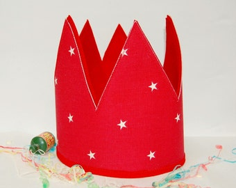Children's Crown, Party Crown, Fabric Crown, Dress Up Crown, Kid's Crown, Party Hat, Photo Prop Crown, Red/Pink/Blue Crown, S/M/L.