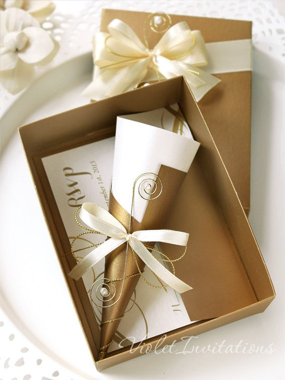 Gold Ivory Box Wedding Invitation Scroll and Response Card