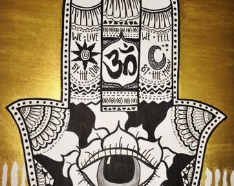 Original hand painted Hamsa on canvas (free shipping!) ONLY 3 LEFT so place your order today!