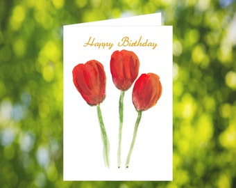 Red Tulip Birthday Card Download: Watercolor Tulip Birthday Card - Red Flower - Digital Download - Downloadable Card - Birthday Card for Her