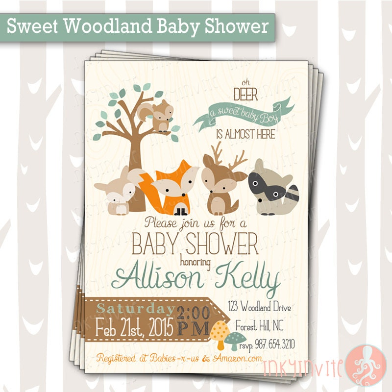 sweet woodland baby shower invitation baby boy woodland, Baby shower invitations