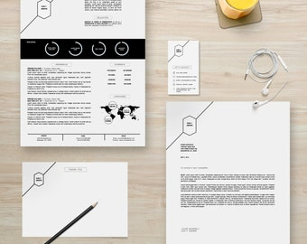 "Resume Template Package | CV Template + Cover Letter + Business Card + Thank You Note for MS Word | Instant Digital Download | The ""Donald"""
