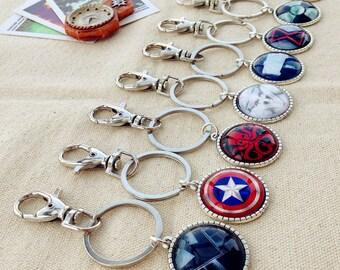 Superhero keychain, Avengers Keychain, Iron Plated Sliver keychain.