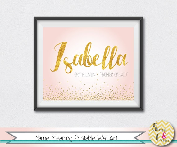 baby name meaning personalized print pink gold purple blue name