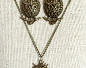 """Bronze owl dangle earrings and 24"""" necklace set"""
