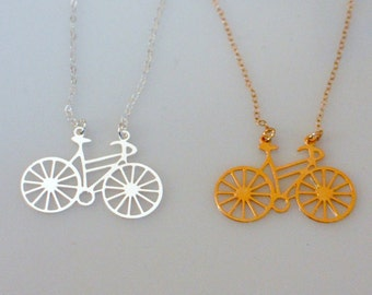 Silver or Gold Bicycle Necklace, Sport Jewelry, Bike Necklace, Cycle Necklace, Sterling Silver Bicycle Jewelry, Gold Bicycle Jewelry