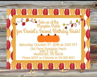 Pumpkin Patch Theme Birthday Invitation - 2nd Birthday Boy Invitation - Pumpkin Patch Theme Birthday Party - Pumpkin Party Invite