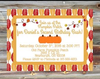 Pumpkin Patch Theme Birthday Invitation - 2nd Birthday Boy Invitation - Pumpkin Patch Theme Birthday Party - Pumpkin Party Invite
