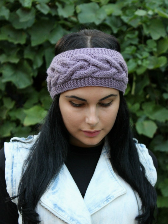 Knitting Headband New 2015 Knit Headband Knit Head Band Ear Warmer Cable Knit Headband Lavender Fall Hair Band Fashion Accessory Cozy Autumn