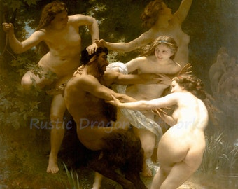 "William Bouquereau ""Nymphs and Satyr"" 1873  Reproduction Digital Print Greek Mythology Dionysus"