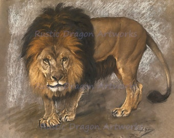 "Geza Vastagh ""Lion Portrait"" 1866 Reproduction Digital Print Animal Wild Life Big Cat Africa"