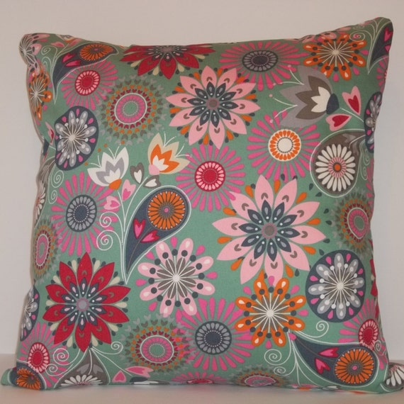 Multi colored throw pillow cover 18 x 18 decorative pillow