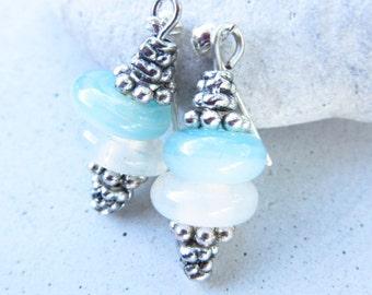 Blue Glass Earrings Handmade Silver Plated Dangle Earrings