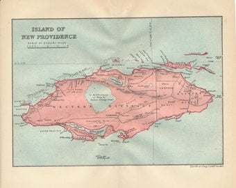 1914 New Providence Bahamas Antique Map