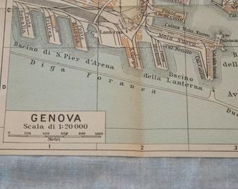 1949 Genoa Italy Vintage Map