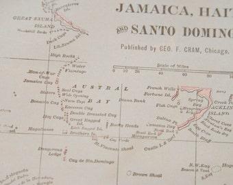 1901 Jamaica, Haiti, Dominican Republic Antique Map