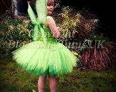 Tinkerbell Inspired Tutu Dress FairyBirthday Party Photo Prop Fancy Dress