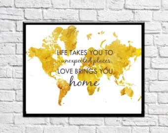 Yellow World Map Prints Large World Map Home and Living Art  - A1 - A2 Poster Watercolor Prints  - Large Prints World Map Poster