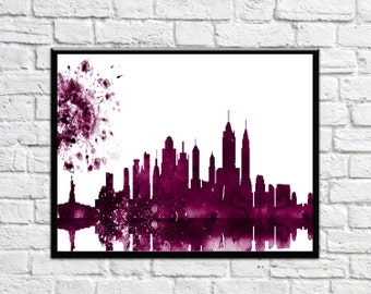 New York Skyline New York City NYC Cityscape  Art Print Watercolor NYC Purple Newyork Cityscape. Watercolor Cityscape