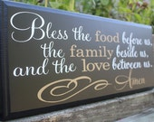 Bless the food before us wood sign-dining room wall decor-dining room-kitchen wall decor-kitchen signs-bless this food-wall prayer sign